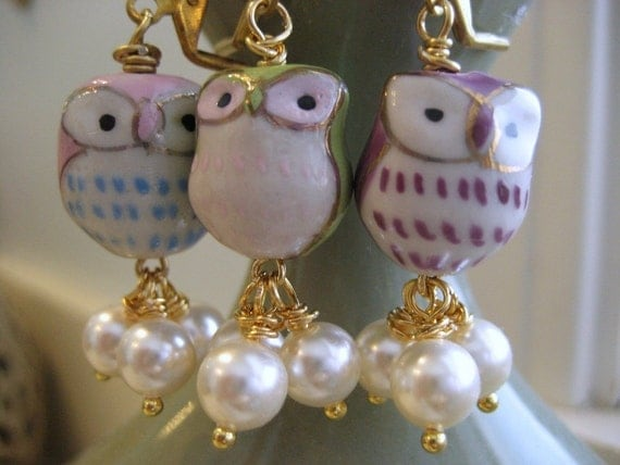 Earrings. Porcelain Owl Pearls Dangles Owl Melt With You. Cute gift for her under 20