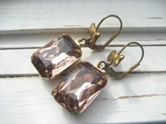 Annabelle. Vintage rhinestone earrings, dangle earrings, bridesmaids, wedding jewelry,