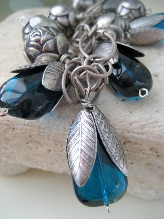 Peacock Blue charm bracelet, antique silver roses, Oxidized Silver chain, boho chic charm bracelet,