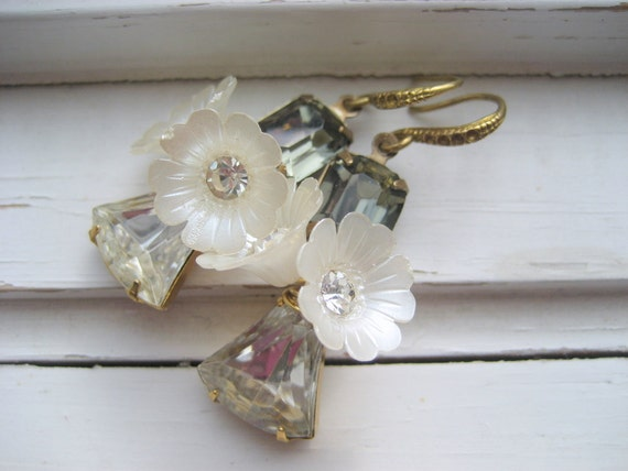 Dove bridal earrings,  vintage rhinestone and Lucite, bridal accessory, bridesmaids, summer wedding jewelry