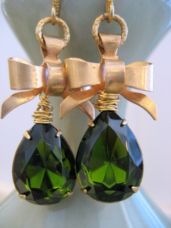 Drop Earrings. Vintage Green Glass Faceted Brass Bow. Caroline. Romantic gift for her under 25