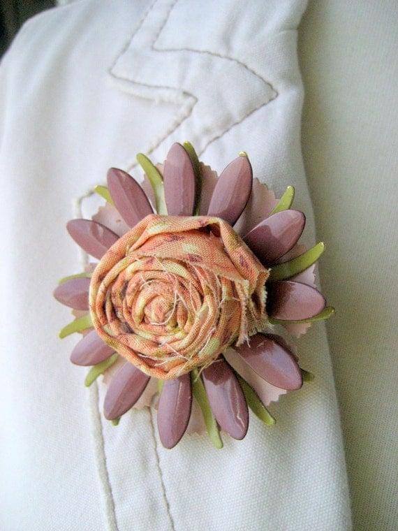 Brooch, Lapel, Scarf, Hat Pin, Vintage Enamel Flower,  Fabric Rosette. Daisie Mae.