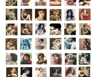 Vintage 1800s - 1930 old Photographs women children digital Download collage Sheet 1 INCH squares graphics images for jewelry pendants pins