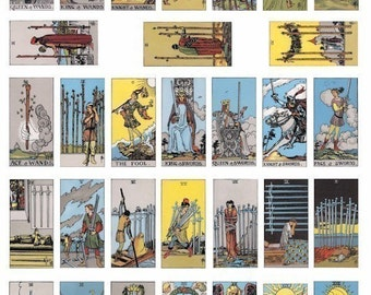swords wands tarot cards fortune telling digital download domino collage sheet graphics 1 BY 2 inch images printables