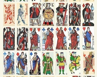 VINTAGE Game Playing cards domino collage sheet digital download graphics 1 x 2 inch images 15th 16 century spanish french printable