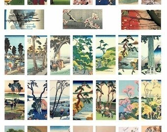 tree trees flowers watercolor paintings domino collage sheet 1 x 2 inch image graphics digital download landscape art printables vintage art