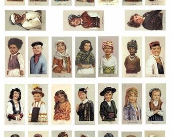 international ethnic children domino collage sheet 1 BY 2 inch digital download images graphics cigarette cards ethnic printable vintage art
