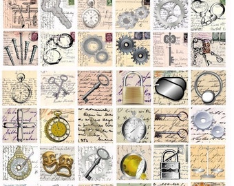 very inventive Steampunk metal  Hardware postcards 1.25 inch SQUARES digital collage sheet key gears watch clock graphics printable
