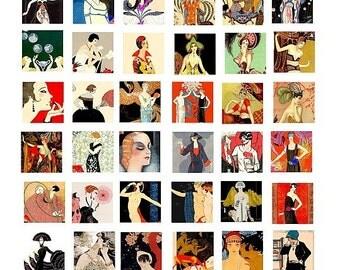 1920s 1930s art flapper girls fashion deco art images digital download graphics collage sheet 1 inch squares printable vintage art 20s women