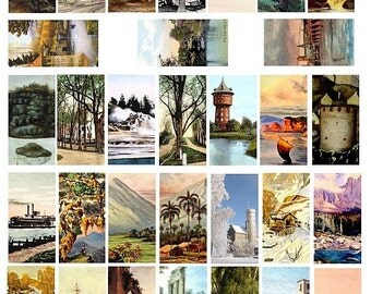 landscape buildings seascape domino collage sheet 1 x 2 INCH trees image graphics clip art digital download  printables