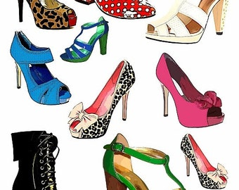 womens high heel shoes fashion clip art png graphics digital download collage sheet background images high heels background art printables
