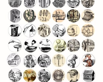 Clip Art Steampunk Clipart steampunk clip art etsy antique machines inventions 1 inch circles collage sheet digital download graphics images printables vintage machine