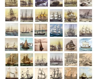Sea Sailing Ships boat COLLAGE SHEET 1 inch squares printable Art antique nautical paintings digital download graphics images for pendants