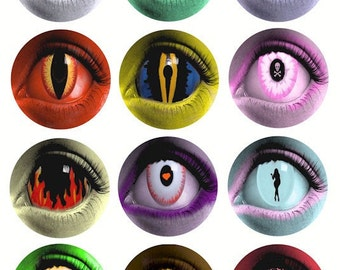 creature womens evil eye contact lens 2.5 inch circles digital download collage sheet great for goth punk biker art jewelry