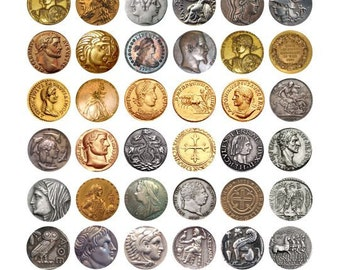 ancient antique coins coin clip art digital download Collage sheet 1 INCH and 20mm circles