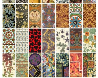 floral ornament textile fabric patterns domino collage sheet 1x2 inch images digital download graphics clip art clip art scrapbooking