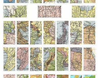 vintage antique world maps domino collage sheet digital download  1 BY 2 inch image graphics crafts printable