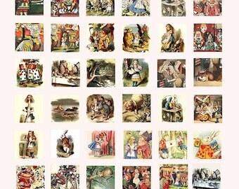 Alice in Wonderland vintage book art digital download collage sheet 1 inch squares pins pendants etc...