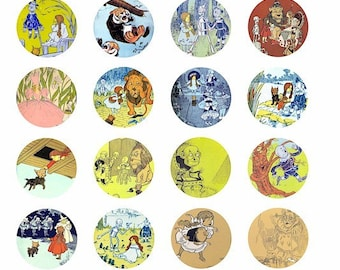 hes the wizard of oz clip art 1.5 INCH circles digital image download collage sheet antique book art