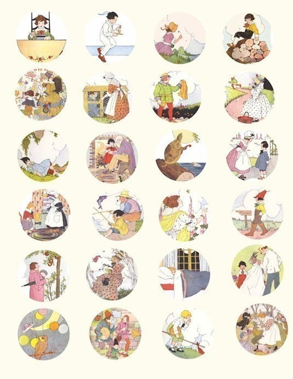 Mother Goose nursery rhymes childrens book clip art collage sheet 1.5 ...