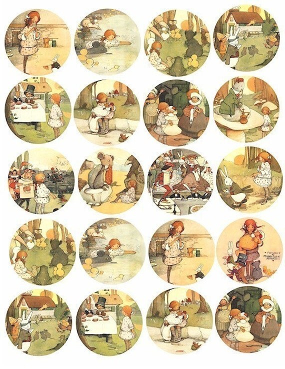 Alice In Wonderland Vintage 1910 art illustrations digital download, collage sheet, digital images graphics art, 2 INCH circles scrapbooking