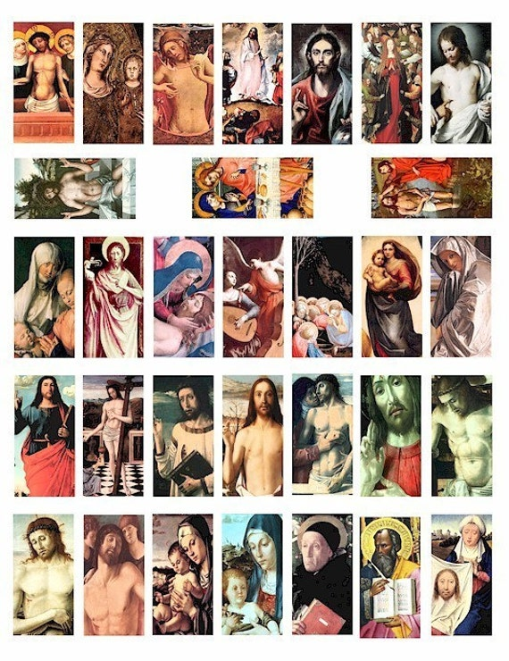 Jesus Christ 1 BY 2 inch dominos collage sheet digital download Virgin Mary Saints antique paintings religious art  jewelry pendant images