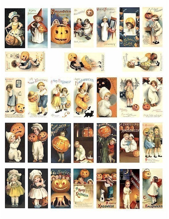 Halloween black cats children in costumes domino collage sheet vintage pumpkin witch clip art  1 BY 2 inch digital download graphics images