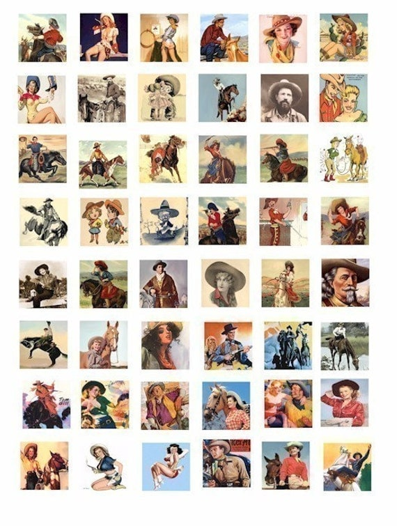 Country life Western Cowboy Cowgirls horses ART digital download  collage 1 INCH square tile SIZE cow boy cow girl