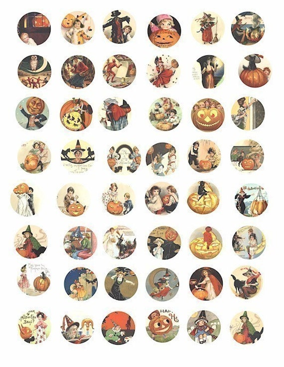 Halloween images witches black cats pumpkins children vintage clip art  collage sheet 1 inch circles vintage postcard digital download art