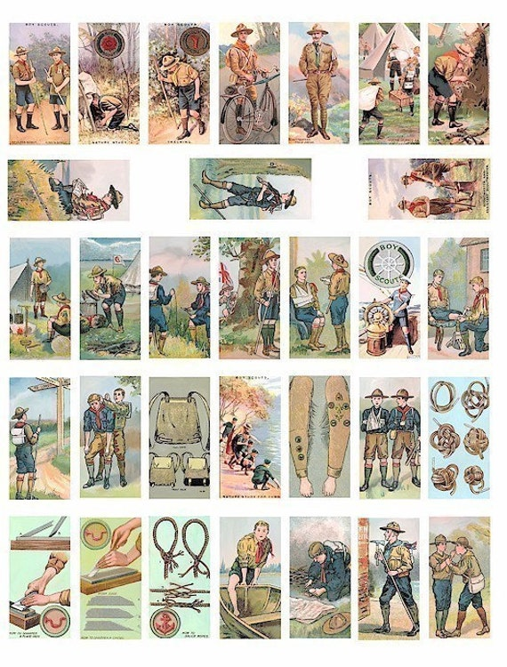Boy scouts cub scout vintage clip art digital download domino collage sheet print 1 BY 2 inch images graphics vintage cigarette cards