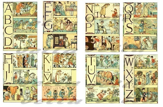 Antique Alphabet Letters picture book childrens classic ART 2 digital download COLLAGE SHEETs 3.5 X 5 inch  IMAGES nursery room printables