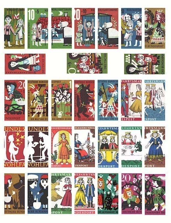 Vintage Grimms Fairy tales clip Art domino Collage Sheet 1 x2 inch digital download images folktales graphics designs
