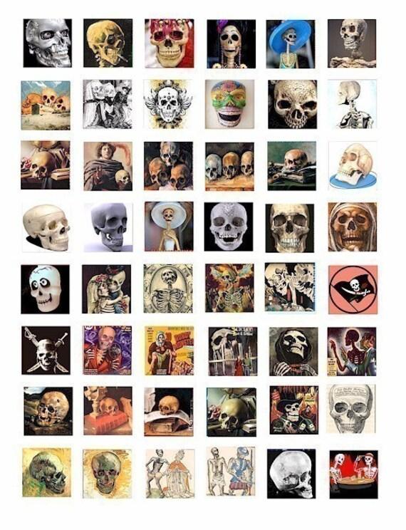 day of the dead gothic skull skulls skeletons digital download collage sheet clip art 1 INC squares