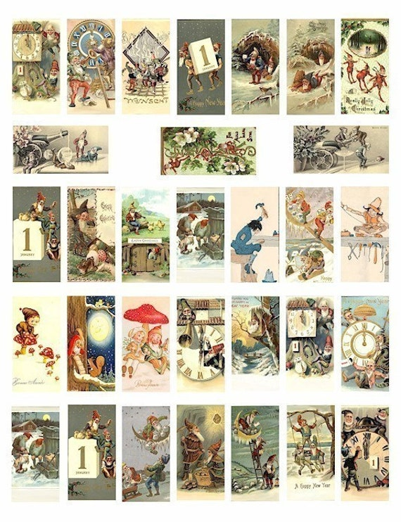 gnomes elves elf fantasy fairy tale digital graphics download domino collage sheet 1 x 2 inch images crafts scrapbooking printables