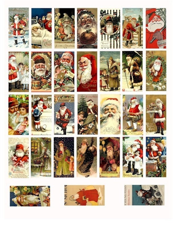 VINTAGE Classic victorian old world Santa Claus christmas COLLAGE SHEET 1x2 inch dominos digital download image graphics printables