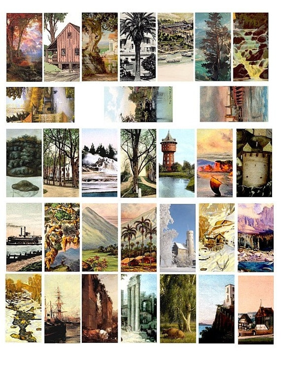 landscape buildings seascape domino collage sheet 1 x 2 INCH trees image graphics clip art digital download  printables