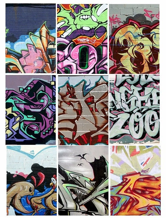 graphitti murals art brick wall aceo digital download collage sheet 2.5 x 3.5 inch size graphics images urban street art printables