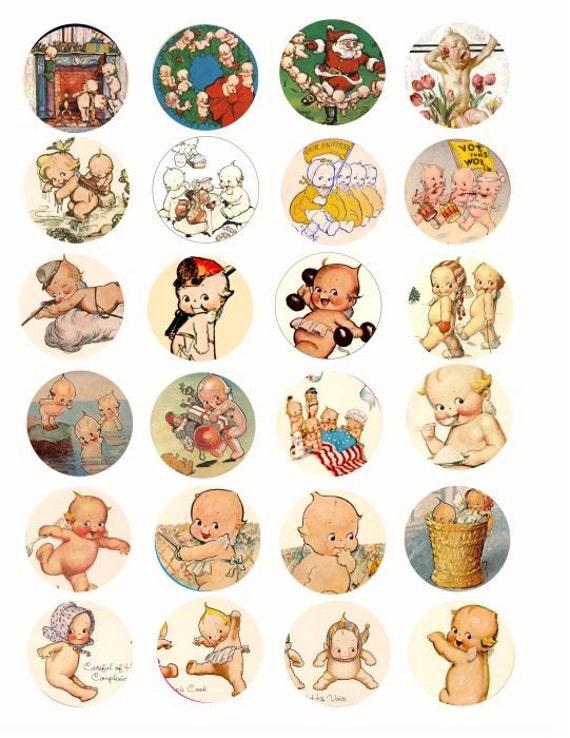 Vintage Kewpie Baby Doll Clip Art Collage Sheet 1 5 Inch