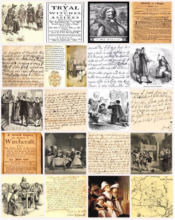 Salem Witch craft Trial documents artwork 1692 witchcraft image graphics 2 inch SQUARES collage sheet digital download ephemera printables