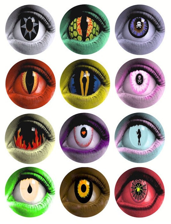 creature womens evil eye clipart clip art 2.5 inch circles digital download collage sheet graphics images goth craft printables