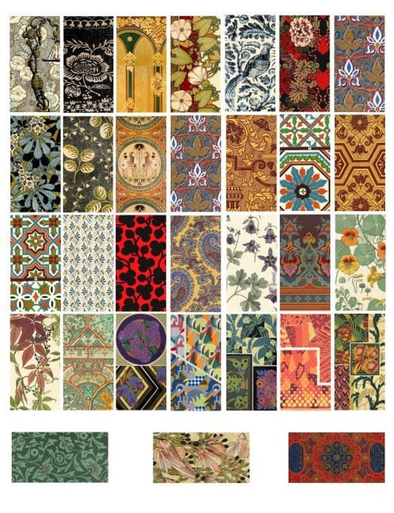floral ornament textile fabric patterns 1x2 inch images digital download collage scrapbooking