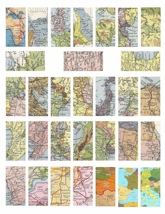 vintage antique world maps domino collage sheet 1 BY 2 inch image digital download graphics crafts printable