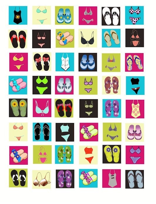 Summer Beach Bikini Bathing Suit Flip Flop Shoes Sandals 1