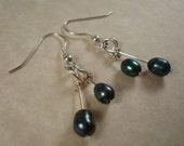 Dark Freshwater Pearl and Silver Earrings, Reserved for RLeeP