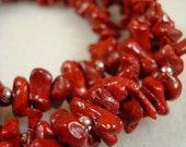 Bold Red Coral Bamboo and Silver Extra Long Chunky Necklace Fashion Under 100