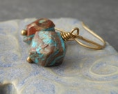 Blue Sky Jasper Earrings, Faceted Gemstone Nugget Turquoise Blue Antique Brass - Mojave