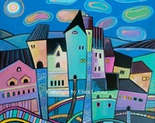 """Art Print from original watercolor painting """"City at night"""" by Elina Lorenz"""