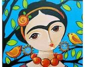 Art Print from original acrylic painting Frida Kahlo with birds by Elina Lorenz