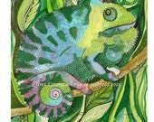 "Original Watercolor painting ""Chameleon"" by Elina Lorenz"