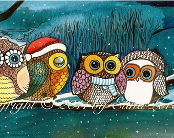 Winter Sale Owls in the snow Art Print gift under 20